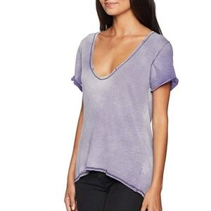 Free People Saturday Linen T-Shirt Linen Lilac NWT